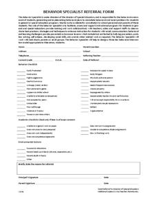 Behavior Specialist Referral Form Printables & Template