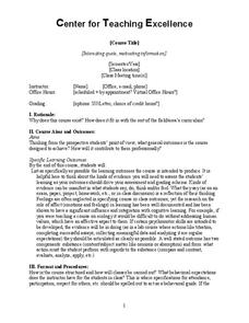 Center for Teaching Excellence (Syllabus Template) 7th - Higher Ed ...