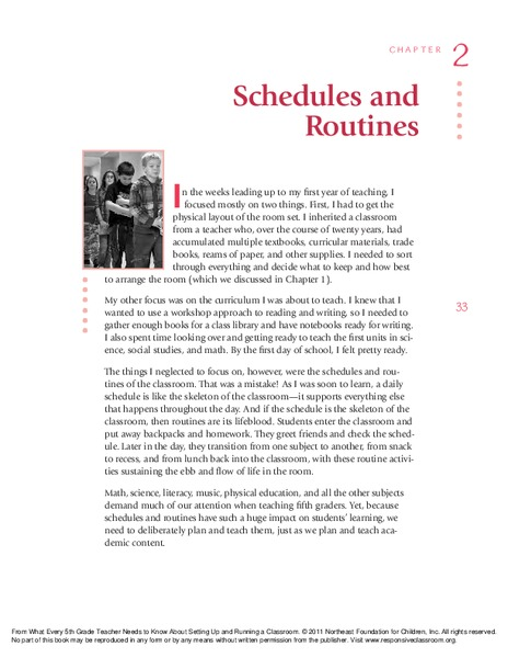 Schedules and Routines: Grade 5 Handouts & Reference