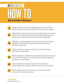 How to Remember Names Printables & Template
