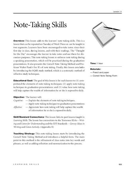 Note-Taking Skills (Cornell) Lesson Plan
