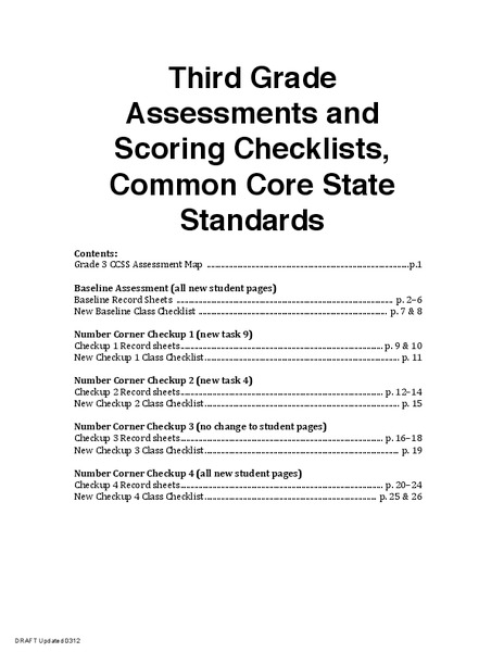 Third Grade Assessments and Scoring Checklists, Common Core State Standards Assessment