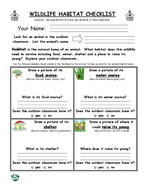 wildlife habitat checklist worksheet for 2nd 4th grade lesson planet. Black Bedroom Furniture Sets. Home Design Ideas