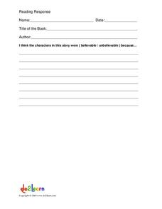 Reading Response Form Worksheet