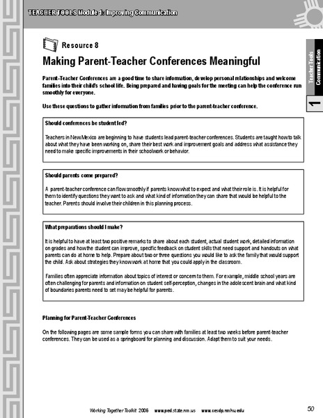 Making Parent-Teacher Conferences Meaningful Printables & Template