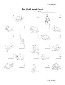 Fun Math Worksheet: 1-Digit Addition 10 Worksheet