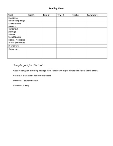 Reading Progress Monitoring Graphic Organizer for 1st - 5th
