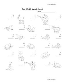 Fun Math Worksheet: 1-Digit Addition Worksheet