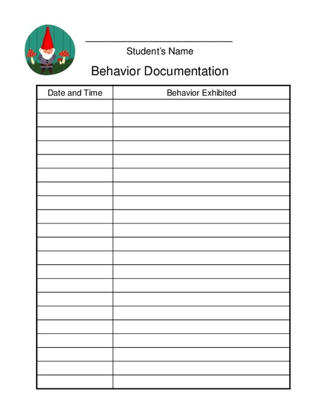 Behavior Documentation Printables & Template