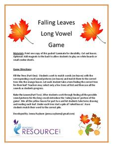 Falling Leaves Long Vowel Game Activities & Project