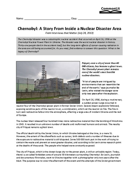Chernobyl: A Story from Inside a Nuclear Disaster Area Worksheet