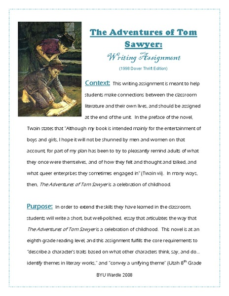 the adventures of tom sawyer writing assignment th th grade  the adventures of tom sawyer writing assignment 7th 10th grade worksheet lesson planet