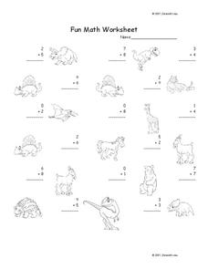 Fun Math Worksheet: 1-Digit Addition 13 Worksheet