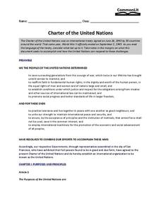 Charter of the United Nations Worksheet