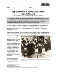 "Segregated from its History, How ""Ghetto"" Lost its Meaning Worksheet"