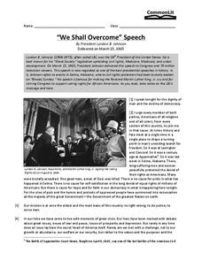 """We Shall Overcome"" Speech Worksheet"