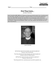 First They Came... Worksheet