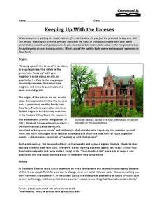 Keeping Up with the Joneses Worksheet