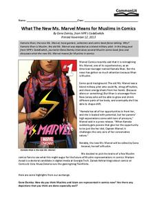 What the New Ms. Marvel Means for Muslims in Comics Worksheet