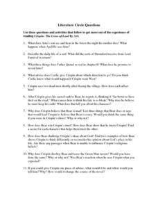 Literature Circle Questions Worksheet