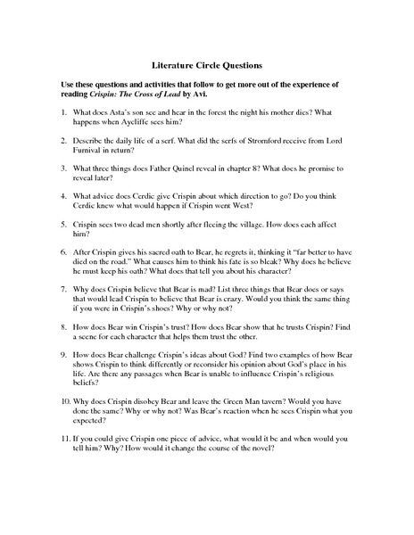 Literature Circle Questions Worksheet For 5th 8th Grade