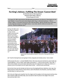 "For King's Adviser, Fulfilling The Dream ""Cannot Wait"" Worksheet"