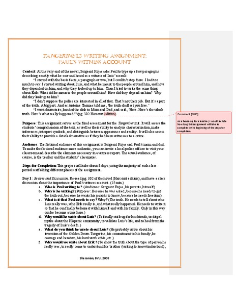 Tangerine: Writing Assignment: Paul's Witness Account Activities & Project