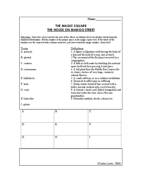 the house on mango street the magic square th th grade the house on mango street the magic square 6th 8th grade worksheet lesson planet