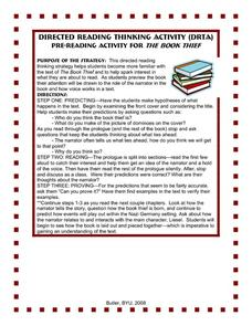 The Book Thief: Directed Reading Thinking Activity Activities & Project