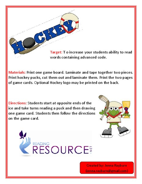 Hockey Game (Advanced Code) Activities & Project
