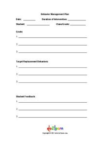 Behavior Management Plan Printables & Template