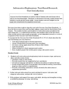 Informative/Explanatory: Text-Based Research Unit Introduction Unit