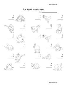 Fun Math Worksheet: 1-Digit Addition 14 Worksheet