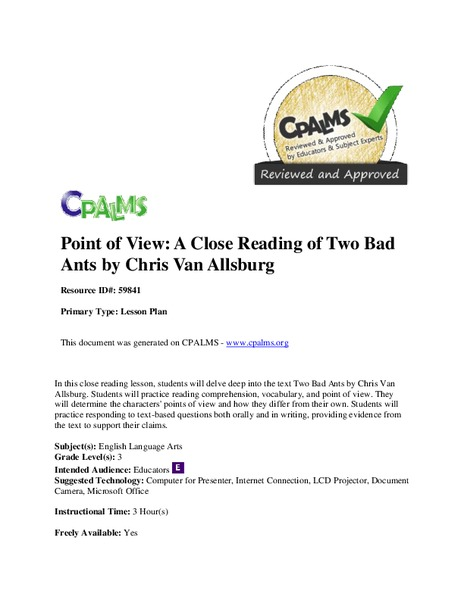 Point of View: A Close Reading of Two Bad Ants Lesson Plan