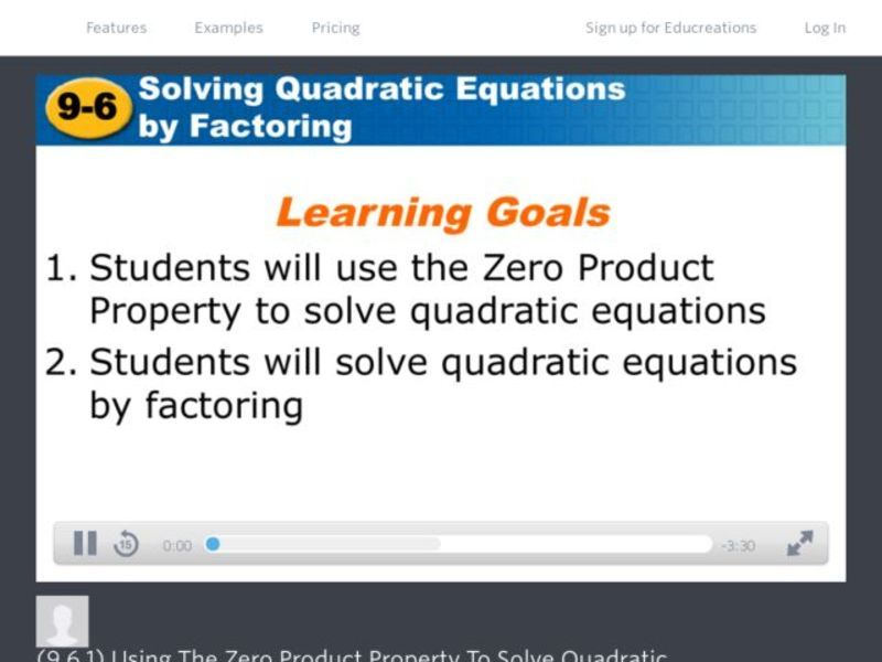 Using the Zero Product Property to Solve Quadratic Functions Video