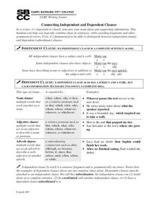 Connecting Independent and Dependent Clauses Handouts & Reference