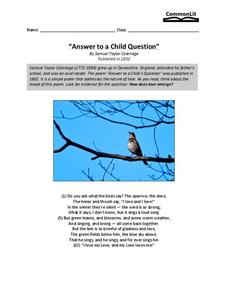 """Answer to a Child Question"" Worksheet"