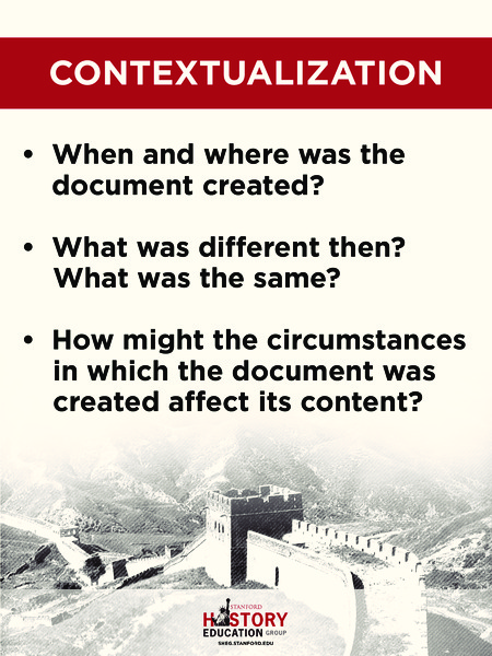 5th Grade History Questions: Contextualization Handouts & Reference For 5th