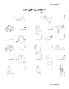 Fun Math Worksheet: 1-Digit Addition 17 Worksheet