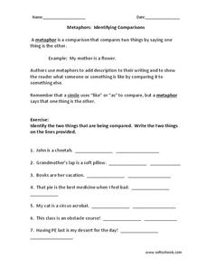 Metaphors: Identifying Comparisons Worksheet