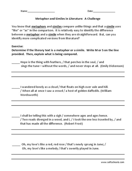 Metaphor and Similes in Literature: A Challenge Worksheet
