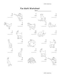 Fun Math Worksheet: 1-Digit Addition 2 Worksheet