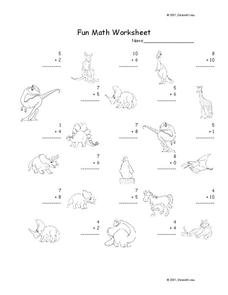 Fun Math Worksheet: 1-Digit Addition 25 Worksheet