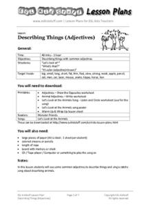 Describing Things (Adjectives) Lesson Plan