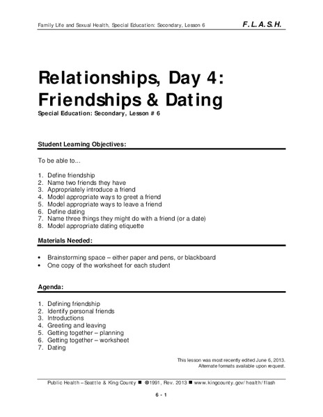 Lesson 6: Relationships - Day 4: Friendships & Dating Lesson