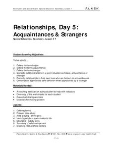 Lesson 7: Relationships - Day 5: Acquaintances & Strangers Lesson Plan