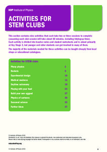 Activities for STEM Clubs Activities & Project
