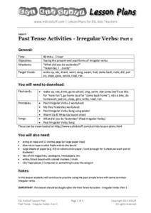 Past Tense Activities - Irregular Verbs: Part 2 Lesson Plan