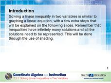 Solving Linear Inequalities in Two Variables Presentation