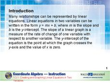 Creating and Graphing Linear Equations in Two Variables Presentation